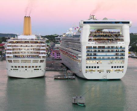 docking: Two docking cruiseships in the port of St. Johns  Antigua...