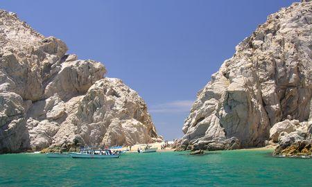 cabo: A beach between the rocks of Lands End near Cabo San Lucas  Mexico Stock Photo