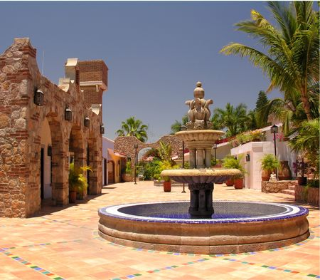 cabo: Fontain and architecture in Cabo San Lucas  Mexico