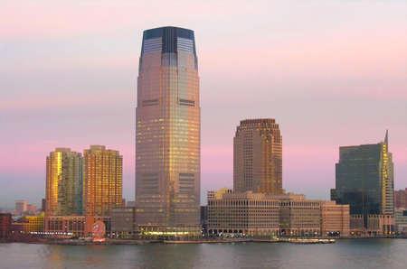 The skyline of Newark at sunrise