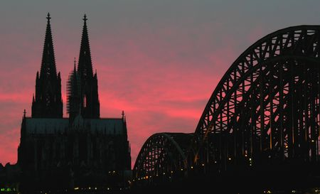 cologne: The landmarks of Cologne (Germany) at sunset...