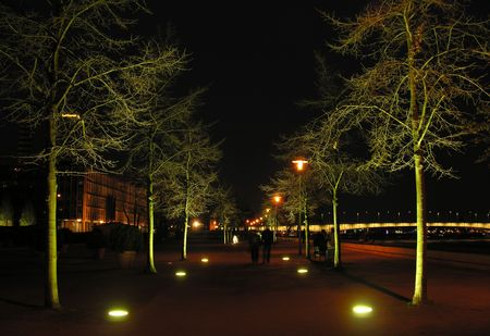 cologne: The promenade beside the river Rhine in Cologne at night...