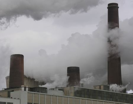 Steam and smoke of a coal powerplant...