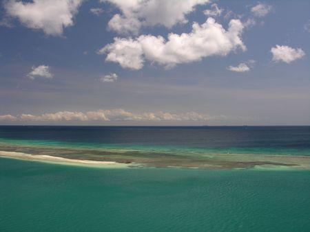 sandbank: A small sandbank in the caribbean sea... Stock Photo