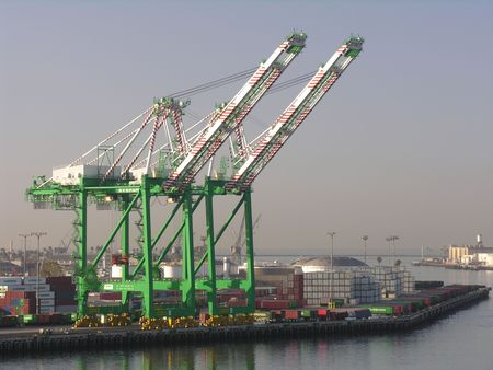 seaport: Green cranes in the seaport of Los Angeles