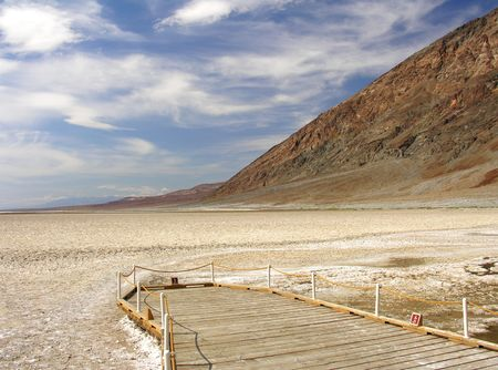 Badwater Basin in the Death Valley National Park � the deepest point in the U.S. 282 feet below sea level photo
