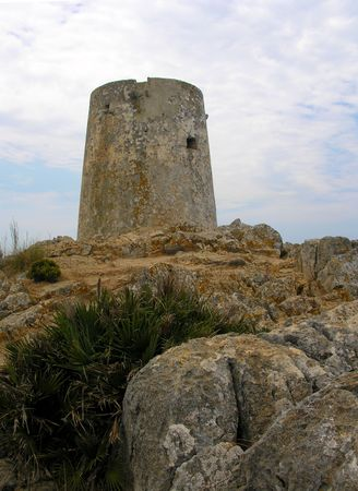 crown spire: Historical tower on the top of a mountain Stock Photo