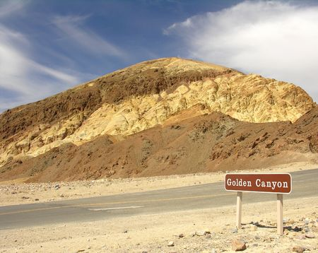 notional: The Golden Canyon in the Death Valley Notional Park in California