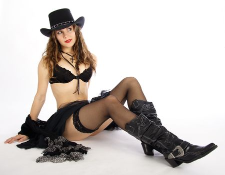 Beautiful black dressed cowgirl