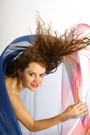 Erotical brunette woman with blowing hairs and foulards Stock Photo - 276762