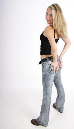 Beautiful dynamic young blond woman photo