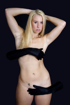 naked girl black hair: Erotic blond woman covered with black gloves