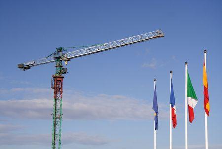 an erection: Erection crane with european flags