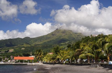 extinct: Caribbean Beach with a extinct volcano in the background