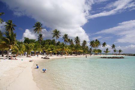 Blue lagoon of a caribbean island photo