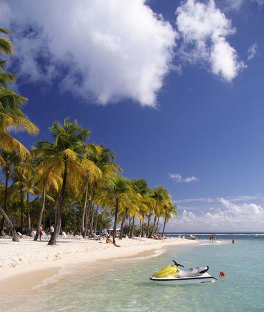 jetski: Beautiful caribbean lagoon with jetski