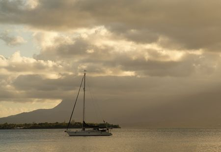 anchoring: Anchoring sailing yacht in the caribbean