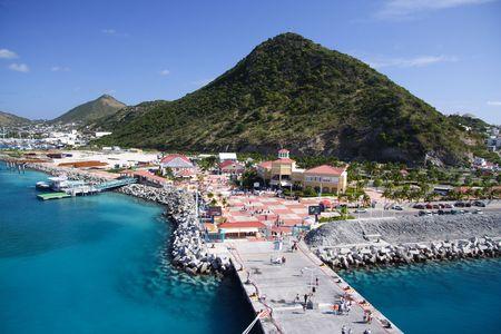 antigua: Caribbean pier with deep blue water Stock Photo