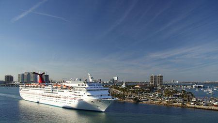 A cruiseship leaving the port of Miami Stock Photo