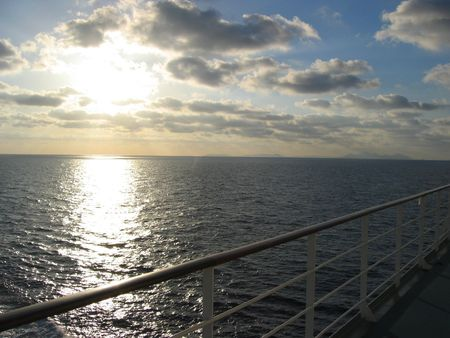 jetset: A panoramic back light view from a cruise ship