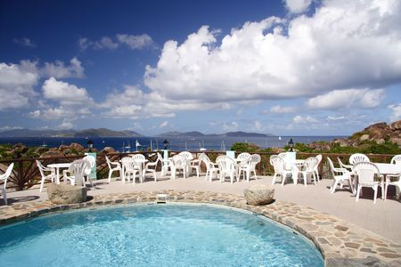 jetset: Terrace and pool with panoramic view Stock Photo