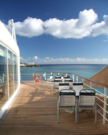 Open air bistro on a cruiseship Stock Photo