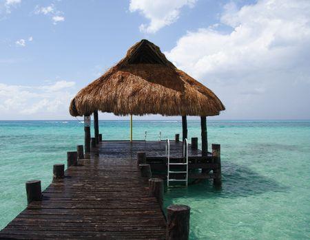 footbridge: Footbridge and refuge in a caribbean lagoon Stock Photo