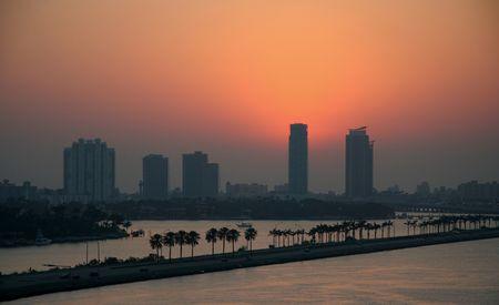 The skyline of Miami Beach at sunrise photo