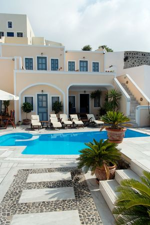 jetset: Terrace of a luxury hotel with pool Editorial