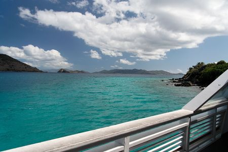 balustrade: Balustrade with blue caribbean water