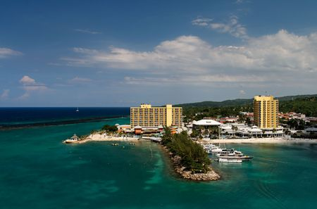 Hotel and small port in the caribbean Stock Photo