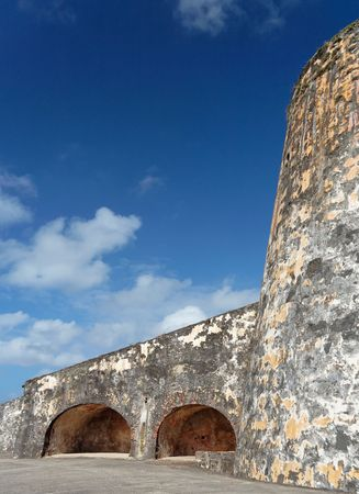 Detail of a caribbean historical fortress