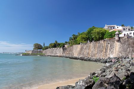Panorama view of a historical caribbean fortress