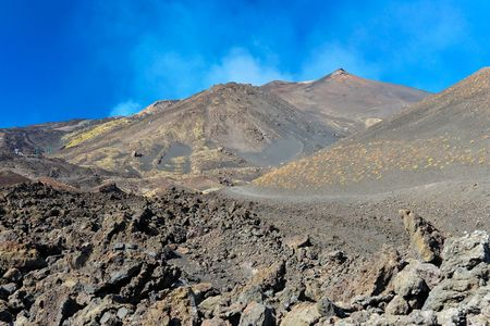Panorama view of an active vulcano  Stock Photo