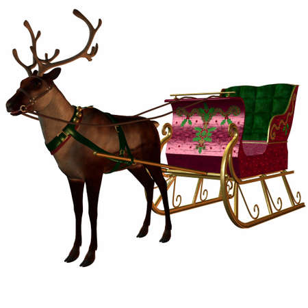 Reindeer&Sleigh Stock Photo