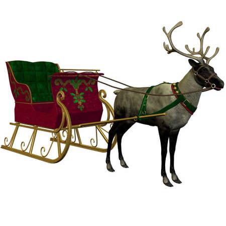 saint nick: Reindeer&Sleigh Stock Photo