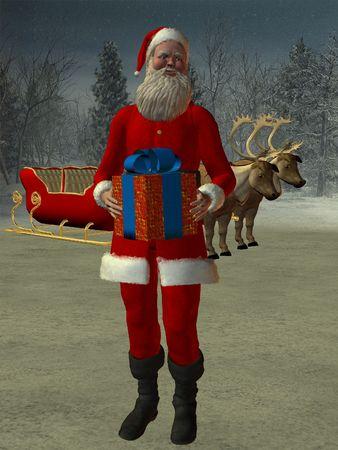 Santa,Reindeer&Sleigh Stock Photo - 639797