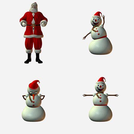 Snowman and Santa Stock Photo
