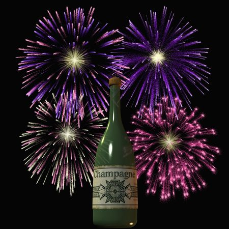 Firework and Champagne Stock Photo