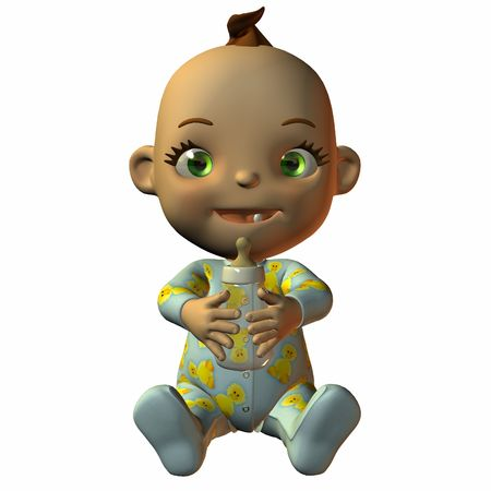 poser: Toon Baby with Bottle Stock Photo