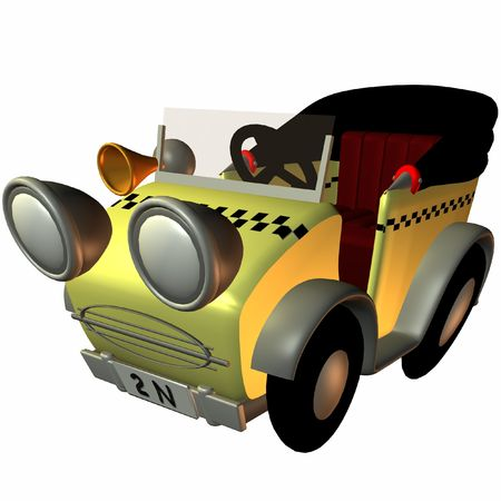 poser: Toon Buggy-Taxi Stock Photo