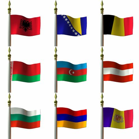 Flags of nations, provinces, principalites and other territories in the continent of Europe photo