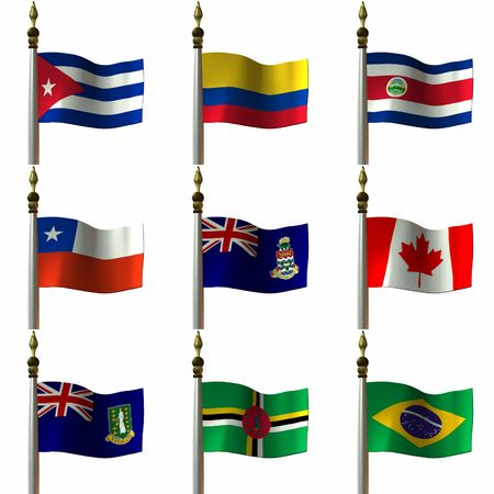 3 D Computer Render of Flags of the Americas Stock Photo - 765422
