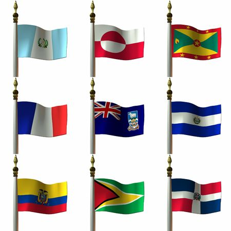 3 D Computer Render of Flags of the Americas Stock Photo - 765423