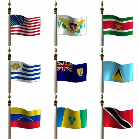 3 D Computer Render of Flags of the Americas photo