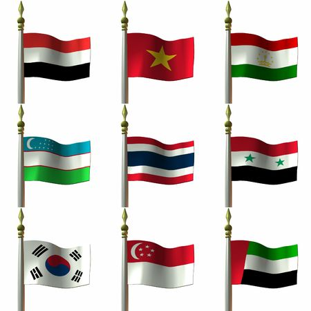asian and middle eastern flags
