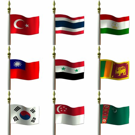 asian and middle eastern flags   Stock Photo - 796488