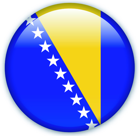 eastern europe: Button with flag from Bosnia - Vector Format