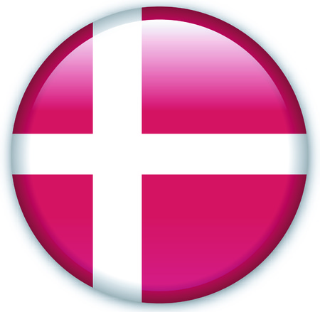 Button with flag from Denmark - Vector Format Vector