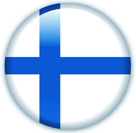 eastern europe: Button with flag from Finland - Vector Format Illustration